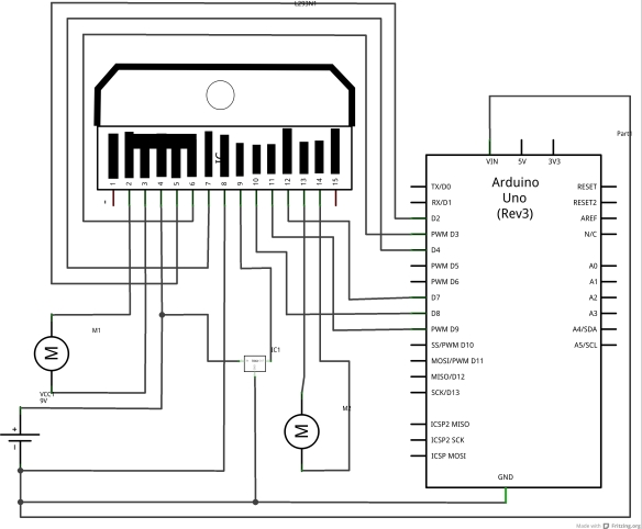 Fritzing Schematic for DC Motor Pair Controlled by L293N and Arduino UNO