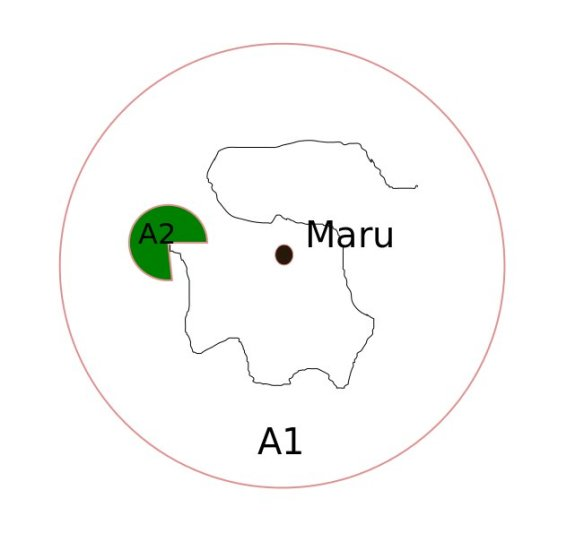 Area A1 and A2 with the Maru in the centre. Enterprise is seen randomly searching within Area A1