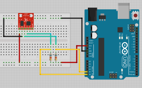 Fritzing sketch of MPU6050 and Arduino UNO