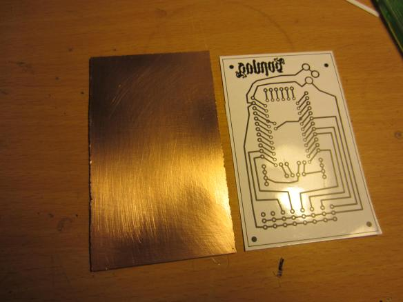 PCB printed using a laser printer and PCB board cut to size and cleanedf.