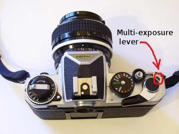 On my Nikon FE, I must first press the multi-exposure before cranking the film advance lever to reset the camera without moving the film forward. This allows me to capture multiple pictures on a single frame