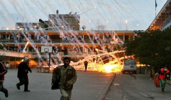 Aerial attack on a school for refugees. Source: http://electronicintifada.net/blogs/ali-abunimah/isolated-weapons-find-vacant-unrwa-school-cannot-justify-israels-gaza-slaughter
