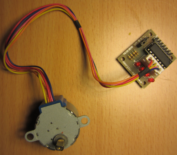 A low cost stepper motor with its driver board (ULN 2003A)